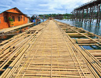 The new bridge which built to temporarily used instead of Utamanusorn bridge or Morn bridge, Thailand. It is the longest bamboo bridge in Thailand and the second Royalty Free Stock Images