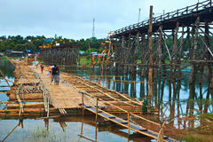 The new bridge which built to temporarily used instead of Utamanusorn bridge or Morn bridge, Thailand. It is the longest bamboo bridge in Thailand and the second Royalty Free Stock Photos