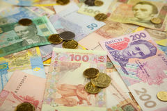 New bright ukrainian money banknots background Stock Images
