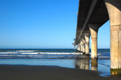 New Brighton concrete pier Christchurch. New Zealand Stock Photos