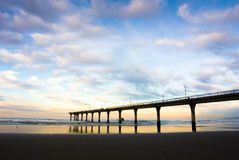 New Brighton Pier Sunset, Christchurch, New Zealand Royalty Free Stock Photos