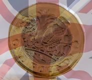 New British One Pound Coin Blended With Union Jack B Royalty Free Stock Photography