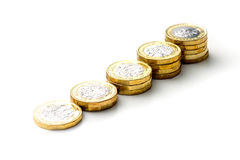 New British One Pound Sterling Coin Chart Rate.  Stock Photography