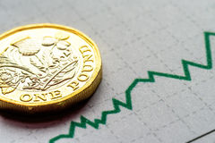 New British One Pound Sterling Coin Chart Rate.  Royalty Free Stock Photos