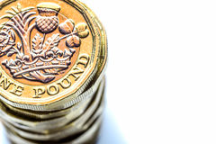 New British One Pound Sterling Coin Chart Rate.  Royalty Free Stock Images