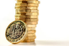 New British One Pound Sterling Coin Chart Rate.  Royalty Free Stock Image