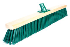 New broom for cleaning on white background Stock Photo