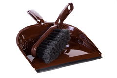New broom and dustpan for cleaning on white background Stock Images