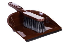 New broom and dustpan for cleaning on white background Stock Image