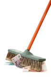 A new broom sweeps clean. Over white Stock Image