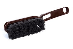 New brown broom for cleaning on white background Stock Photos