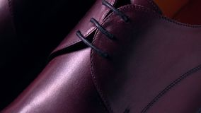 New brown leather bespoke mens boots. Pair of new classic men`s boots Stock Image