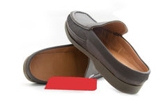 New brown male shoes. On white Royalty Free Stock Images
