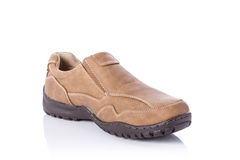 New brown men shoe. Studio shot isolated on white Stock Photo