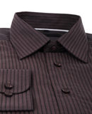 A new brown pinstriped dress shirt Stock Photos