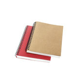 New brown and red notebook isolated on white Stock Image