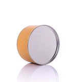 New brown round paper box with silver cap. Studio shot isolated Stock Image