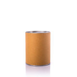 New brown round paper box with silver cap. Studio shot isolated Stock Photography