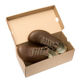 New brown shoe in box Stock Image