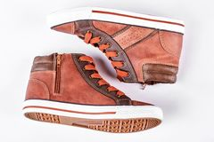 New brown sneakers, white background. Stock Images