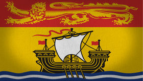New Brunswick flag. Canadian region New Brunswick flag with a big lion design in yellow at the top side over a red rectangle, and a big ship in the lower side Stock Photos