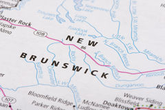 New Brunswick on political map. Closeup of New Brunswick on a political map of Canada stock photography