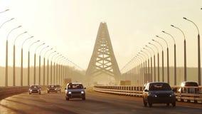 New Bugrinsky Bridge, Novosibirsk, Russia stock footage