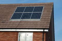New build house with solar panels. Modern New build house with solar panels stock image
