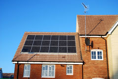 New build house with solar panels. Modern new build house construction with solar panels royalty free stock images