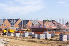 New build houses building construction site, Cheshire, England, Stock Images