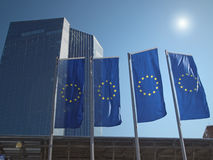 Euro flags at the new ECB headquarters Royalty Free Stock Photo