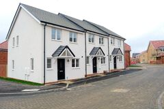 Free New Build Terraced Houses On Construction Site, Stock Photos - 201361633