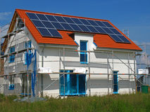 New building. With solar cells on the roof Royalty Free Stock Image