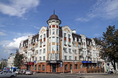 New building in the Art Nouveau style in  Penza, Russia. PENZA, RUSSIA - AUGUST 12, 2012:New building in the Art Nouveau style on the Moscow street in Penza Royalty Free Stock Image