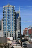 New building construction. Nashville, Tennessee grows with downtown construction amid skyscrapers Royalty Free Stock Photos