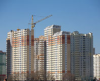 New building construction over blue clear cloudless sky Royalty Free Stock Images