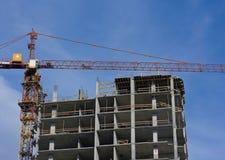 New building construction site. Blue sky, crane Royalty Free Stock Photo