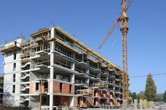 Building construction site with crane Royalty Free Stock Image