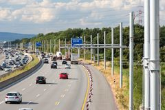 New building of eHighway in Germany stock photography