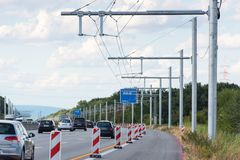 New building of eHighway in Germany royalty free stock photography