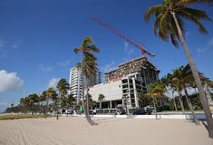New building going up on Fort Lauderdale Beach. Building construction on Fort Lauderdale Beach, Florida stock images