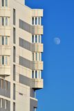 New building and the Moon Royalty Free Stock Photos