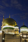 The new building of a mosque in Moscow. Is beautifully lit in the evening Royalty Free Stock Photography
