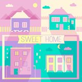 New building and private houses flat design icons. Illustration of new building and private houses flat design icons set for your design Vector Illustration