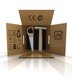 New building tools delivery in carton box Royalty Free Stock Image