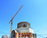 New building under construction with crane Stock Photo