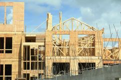 New Building Under Construction Framing Trusses Stock Image