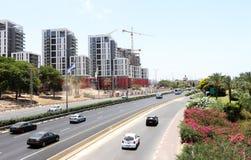 New buildings in Herzliya, Israel, july 3 2018. New buildings in Herzliya, main street and cars, Israel, july 3 2018 Royalty Free Stock Images