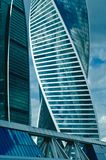New buildings modern business center Moscow-city in Moscow. New majestic buildings modern business center Moscow-city. Multifunction complex Evolution. Russia Royalty Free Stock Images