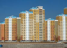 New buildings over blue clear cloudless sky Royalty Free Stock Image